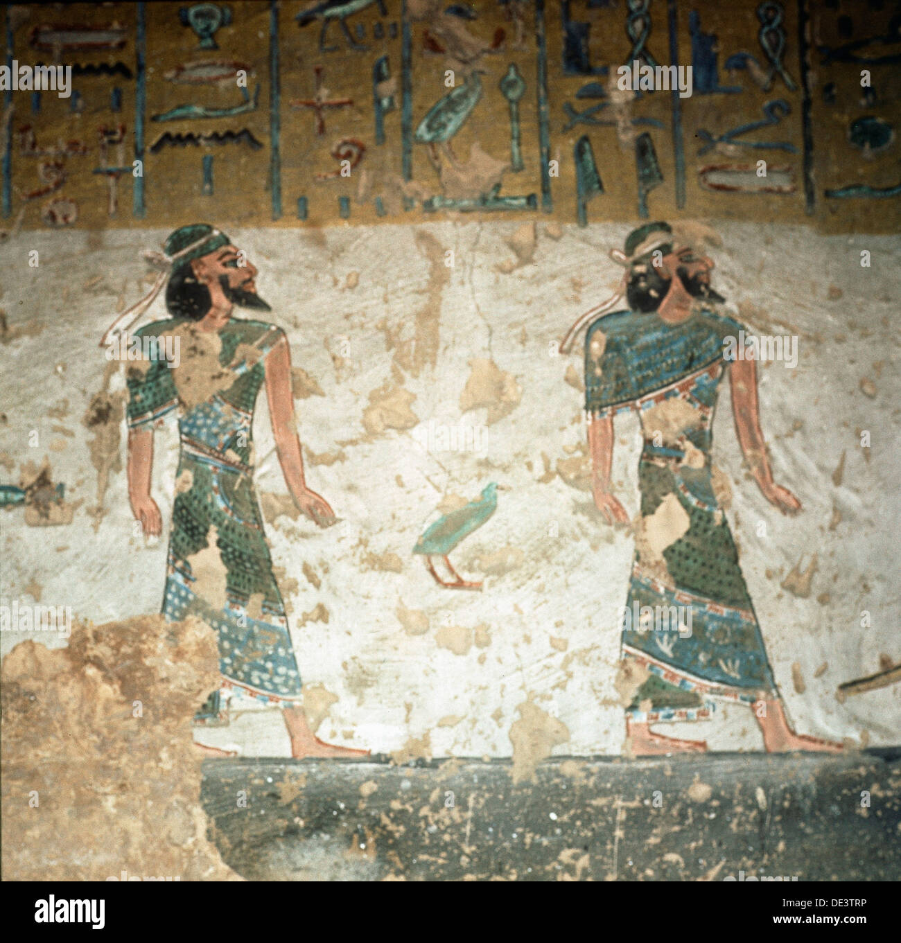A detail of a wall in the tomb of Ramses III painted with scenes from the Book of Gates. Stock Photo