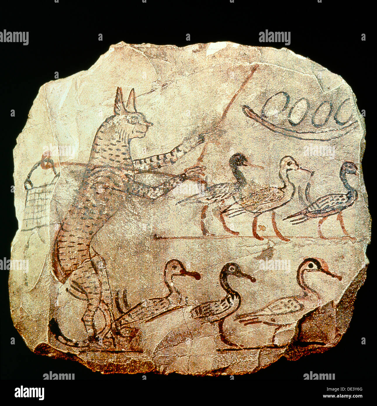 A drawing on limestone of a scene from a fable. - Stock Image
