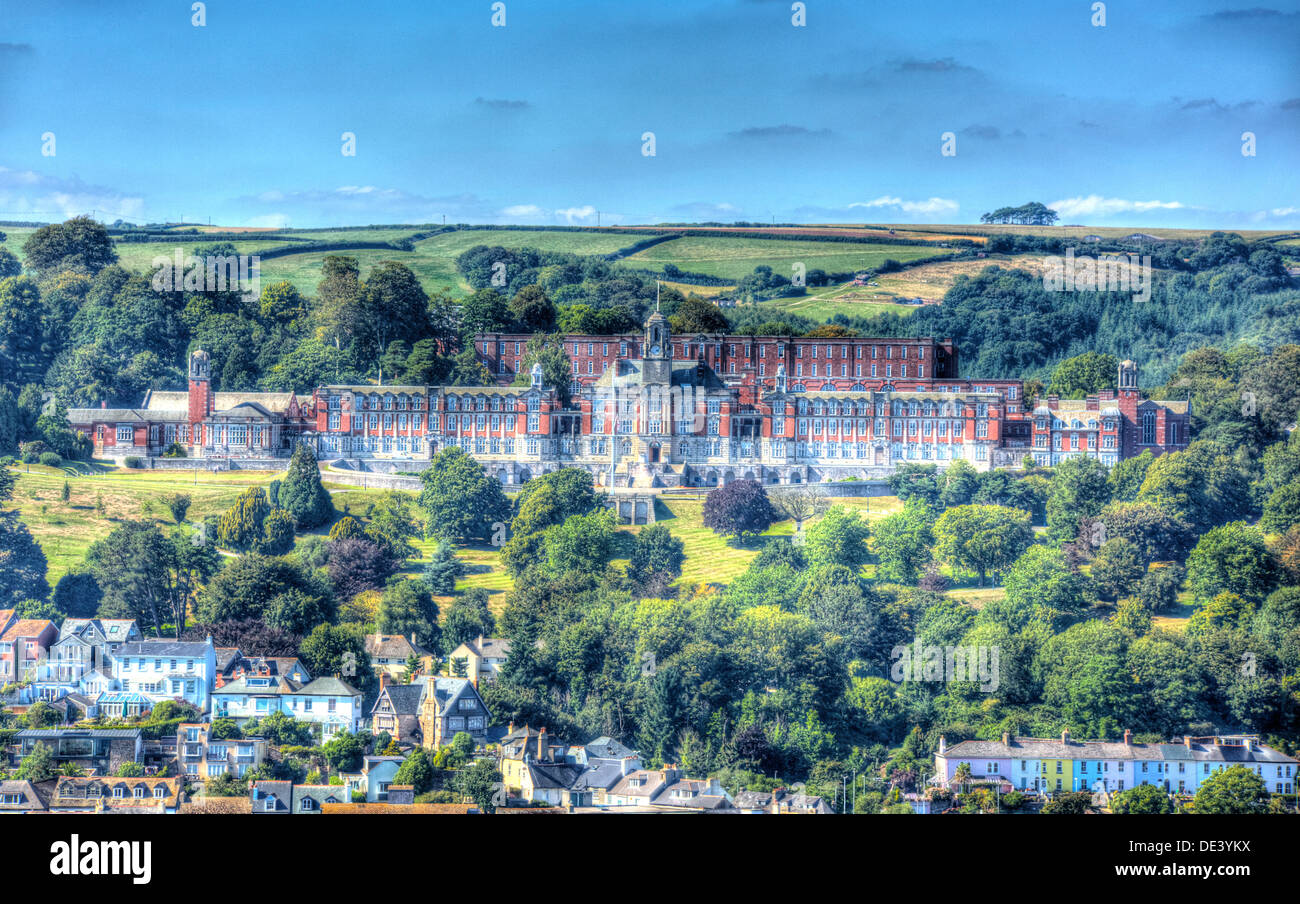 View of Dartmouth Naval College Devon and houses and trees on the hillside like a painting in HDR Stock Photo