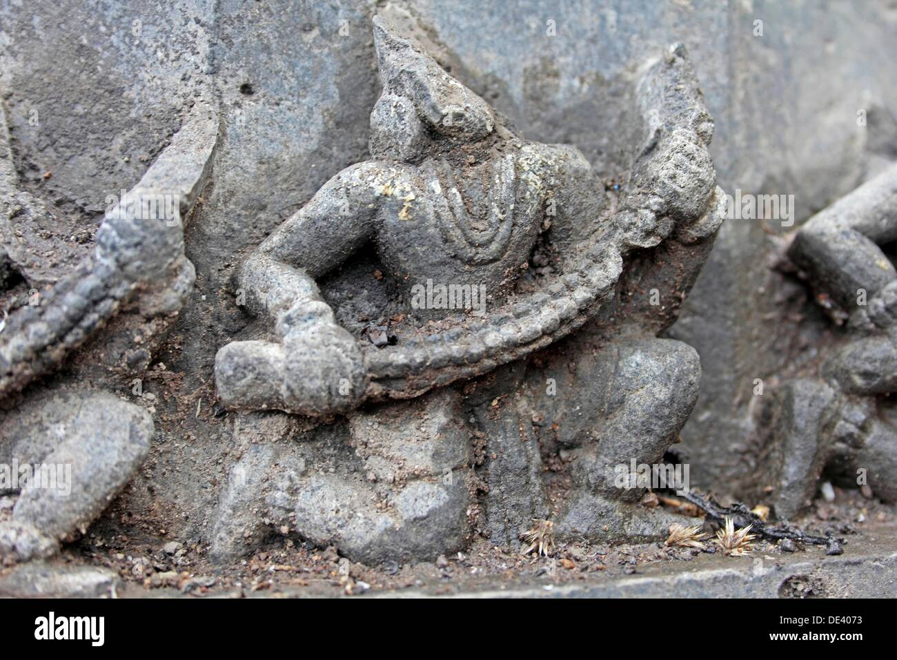 Carving at Shri bhiravnath Temple of Lord Shiva at Kikli, Maharashtra, India - Stock Image