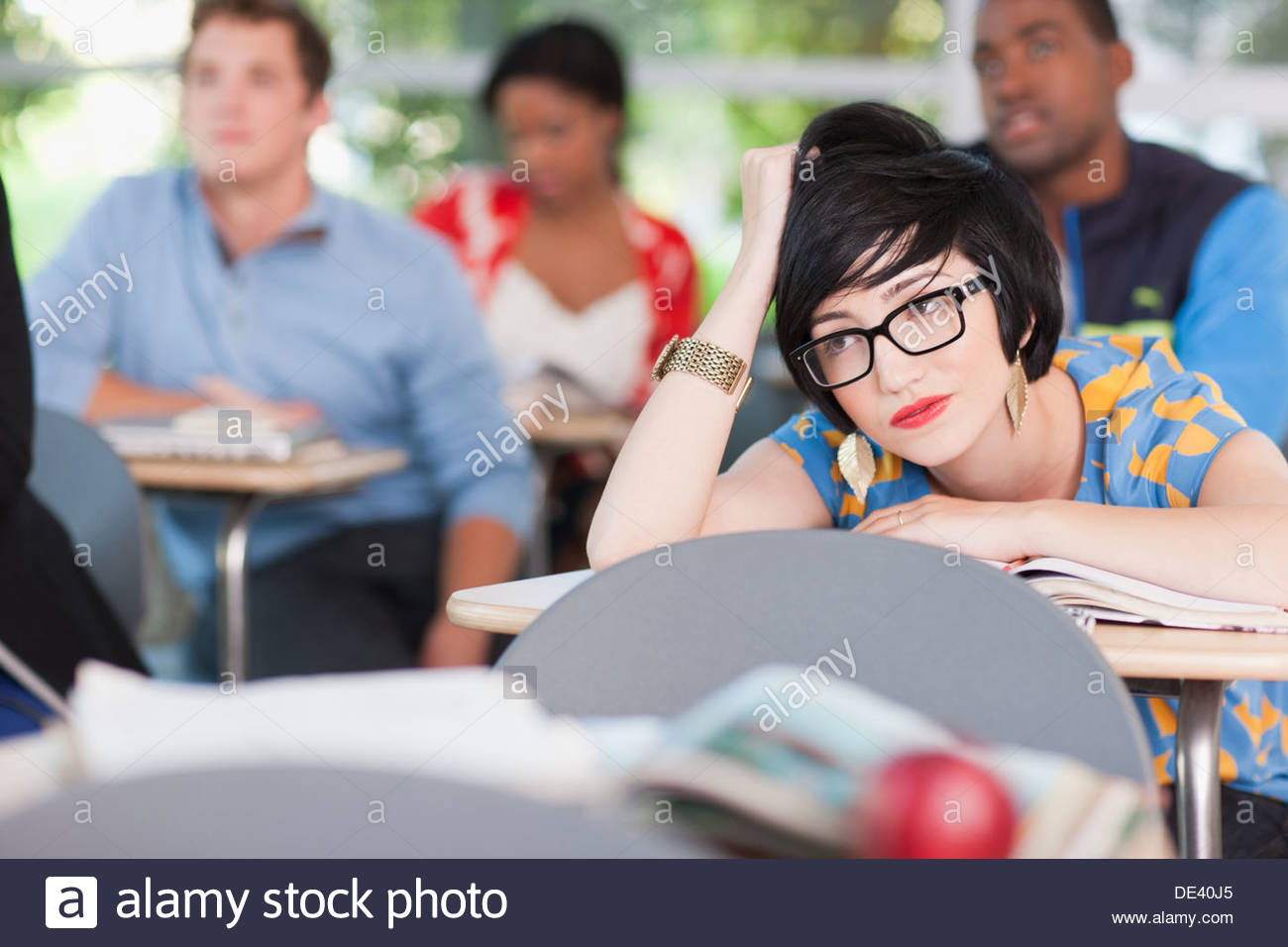 Students in classroom - Stock Image