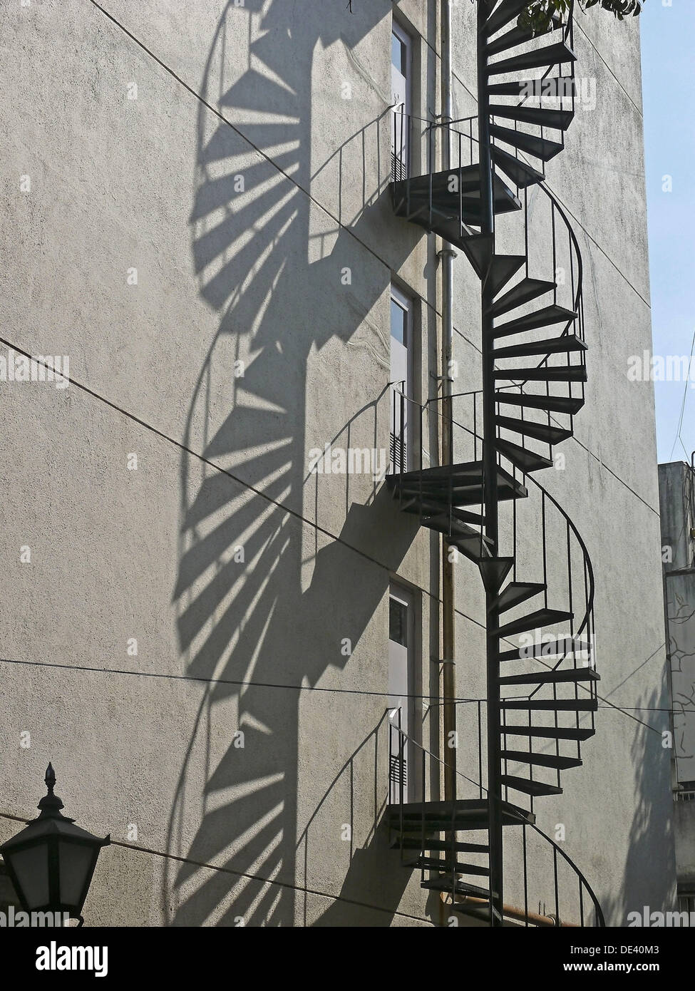 Shadow with a curved staircase made in mild steel - Stock Image
