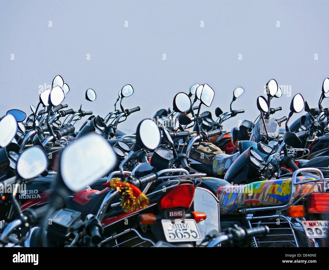 Rear view mirror, reflectors of motorcycles, bikes  India - Stock Image
