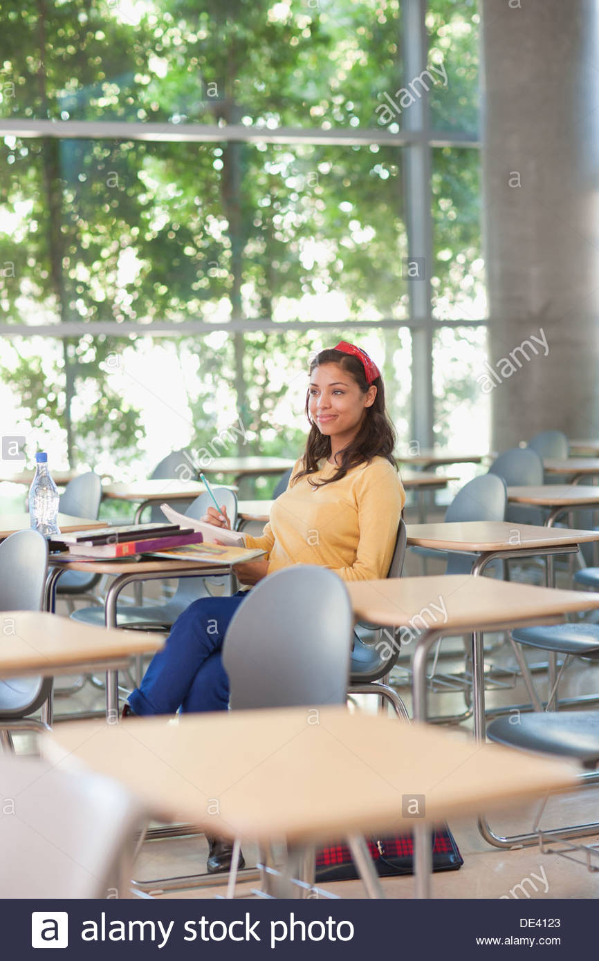 Student in classroom - Stock Image