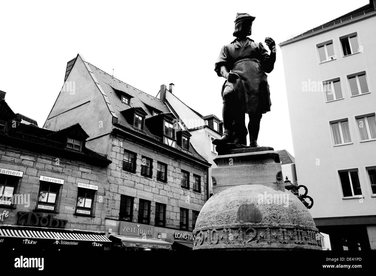 Germany Nurnberg Statue and Old architecture - Stock Image
