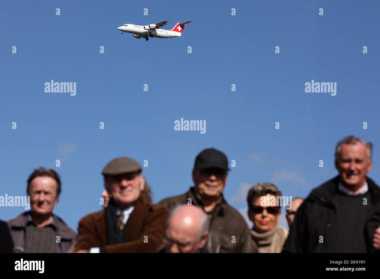 Hannover, Germany, SWISS aircraft over heads of peopleStock Photo
