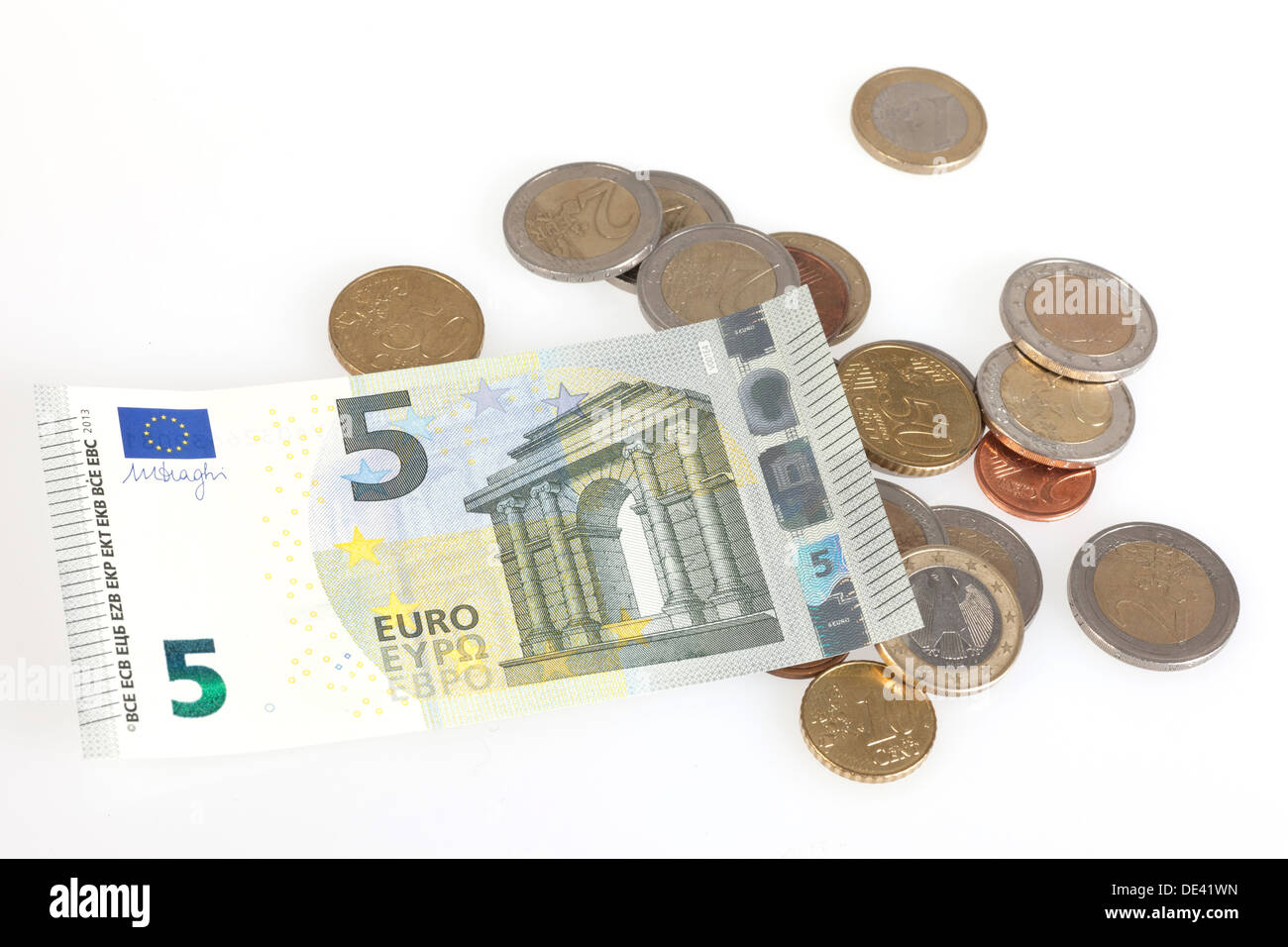 Berlin, Germany, 5 euro bill and Euromuenzen - Stock Image