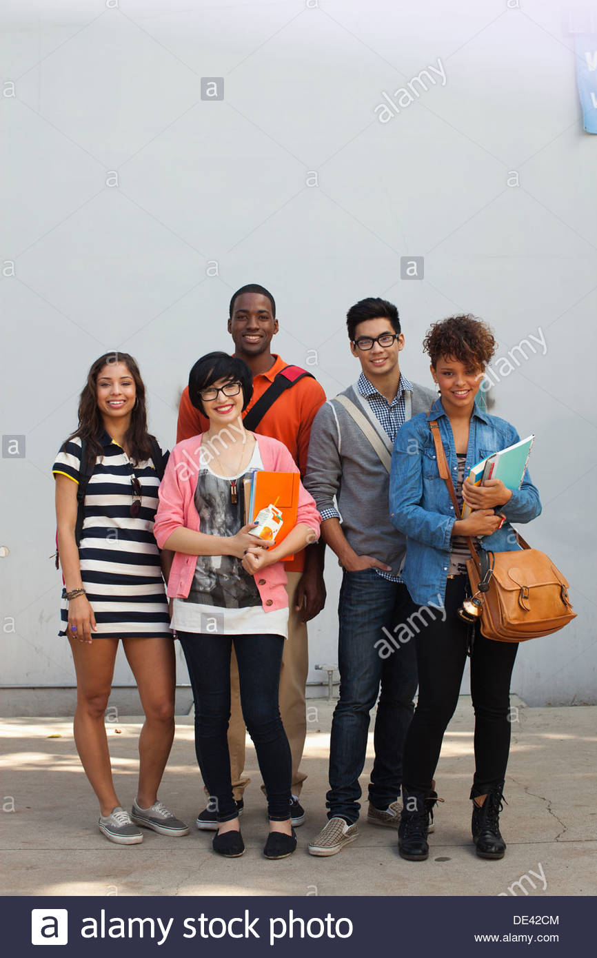 Students smiling together - Stock Image