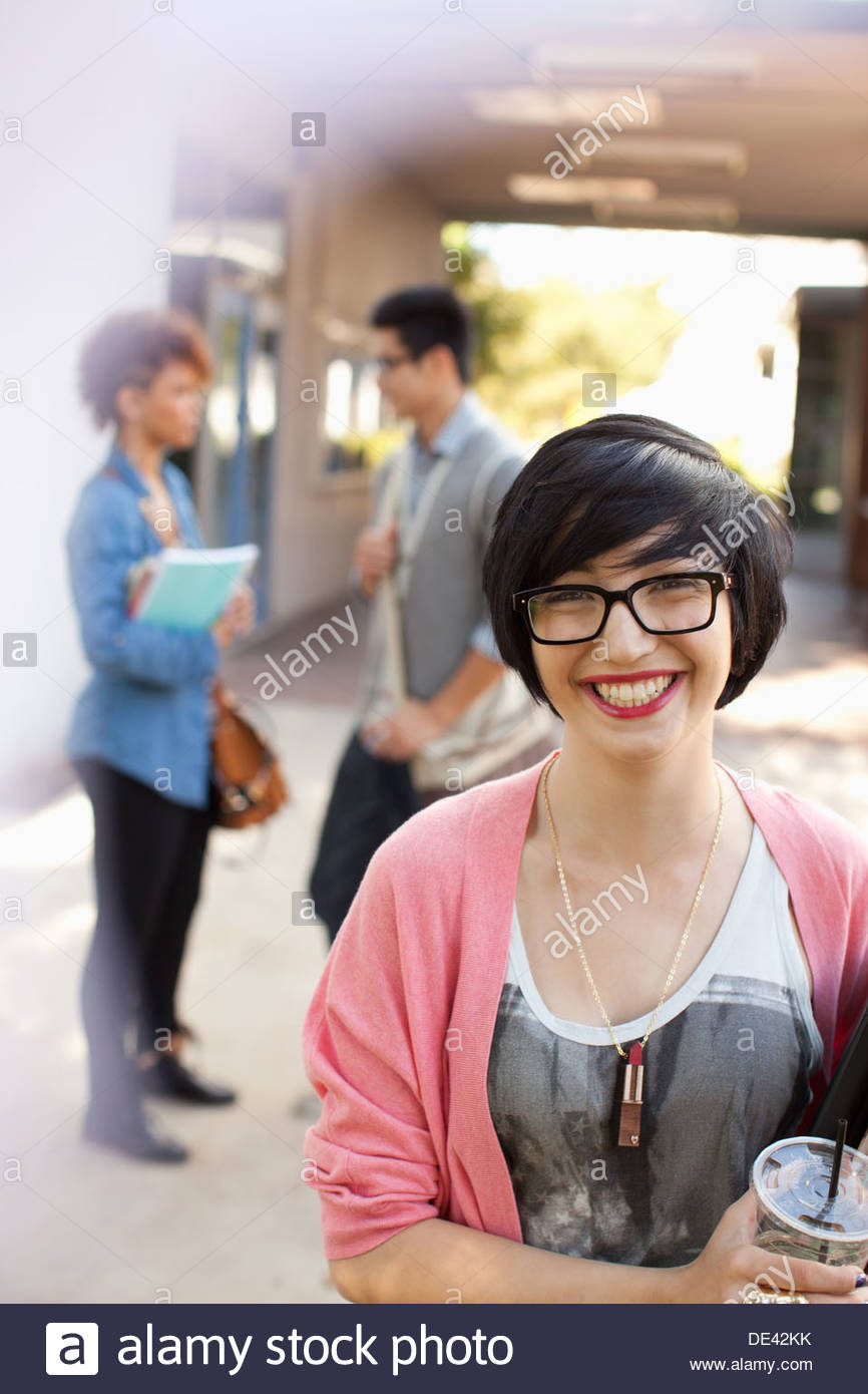 Students on campus - Stock Image