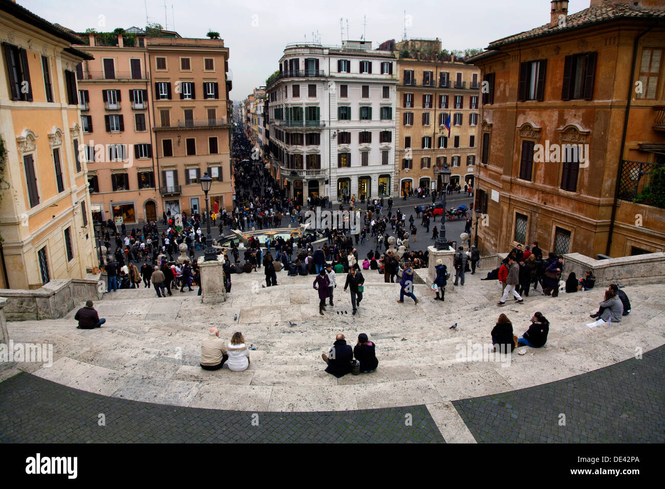 The Spanish Steps and Piazza di Espagna in Rome, Italy. - Stock Image