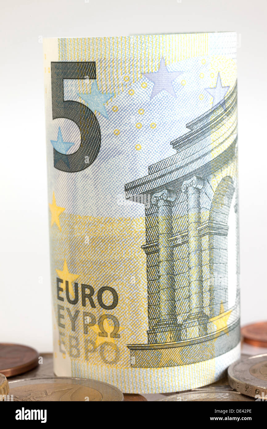 Berlin, Germany, 5 euro bill and Euromuenzen Stock Photo
