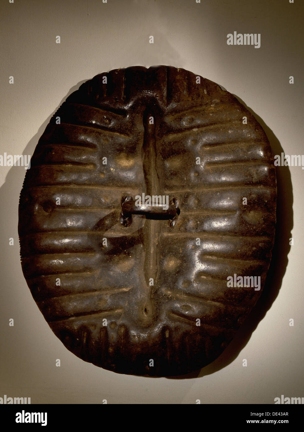 Shield made from tooled and moulded hippopotamus hide. - Stock Image