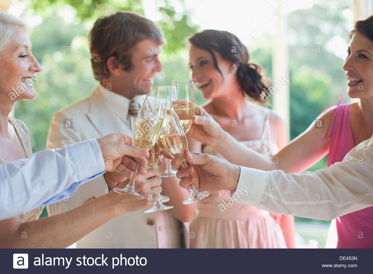 Guests toasting with champagne at wedding reception Stock Photo