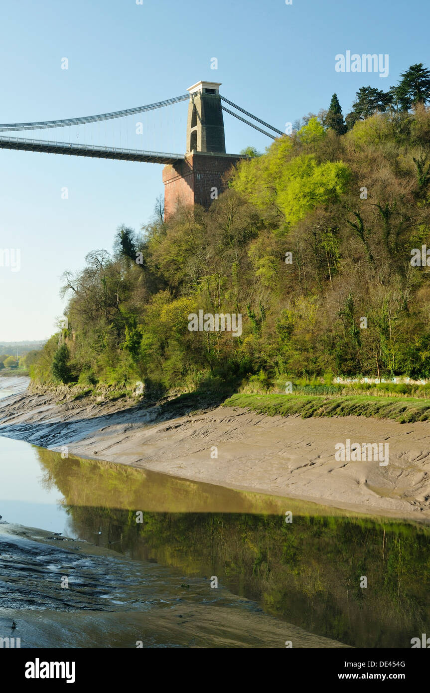 Leigh Woods, River Avon and West Tower of Clifton Suspension Bridge, Bristol - Stock Image