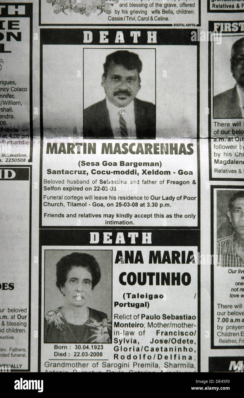 Goa India, obituary announcements on the local newspaper Herald - Stock Image