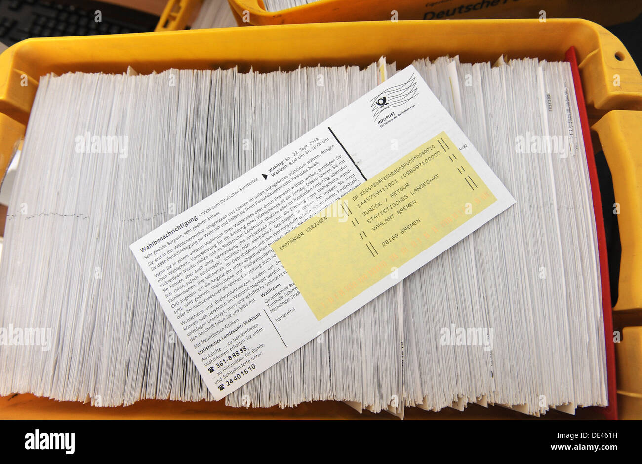 Bremen, Germany. 11th Sep, 2013. Boxes filled with undelivered polling cards are pictured at the State Statistical Office Bremen in Bremen, Germany, 11 September 2013. Thousands of polling cards could not be delivered by the German mailservice. Photo: INGO WAGNER/dpa/Alamy Live News - Stock Image