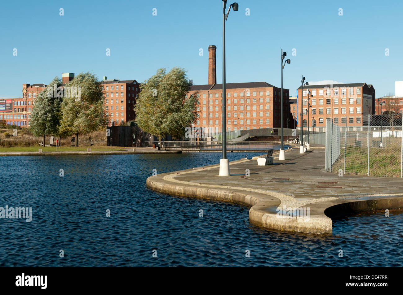 Royal Mills over Cotton Field Park, New Islington, Ancoats, Manchester, England, UK - Stock Image