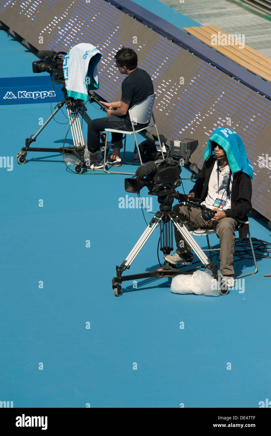 Cameramen at the China Open tennis tournament in Beijing on 4/10/2012 - Stock Image
