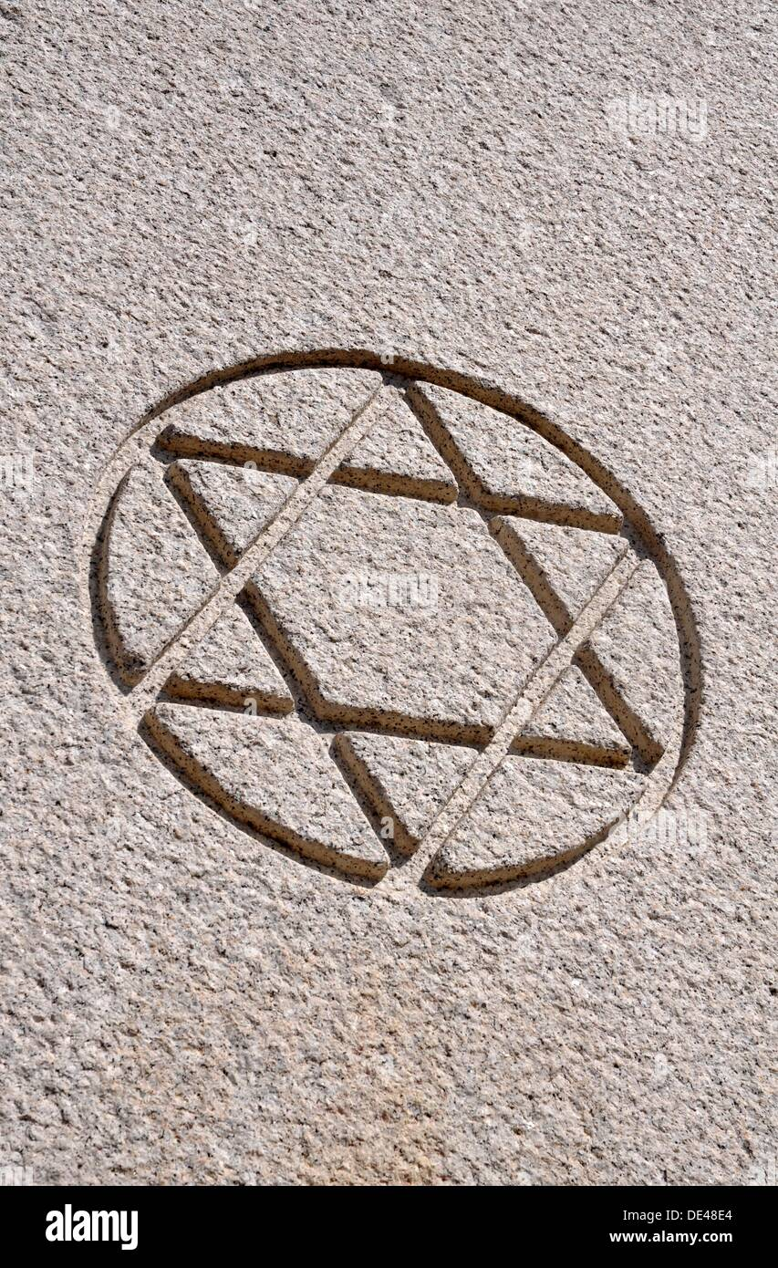 Ferrara (Italy): Hebrew star at the entrance of the Jewish Cemetery - Stock Image