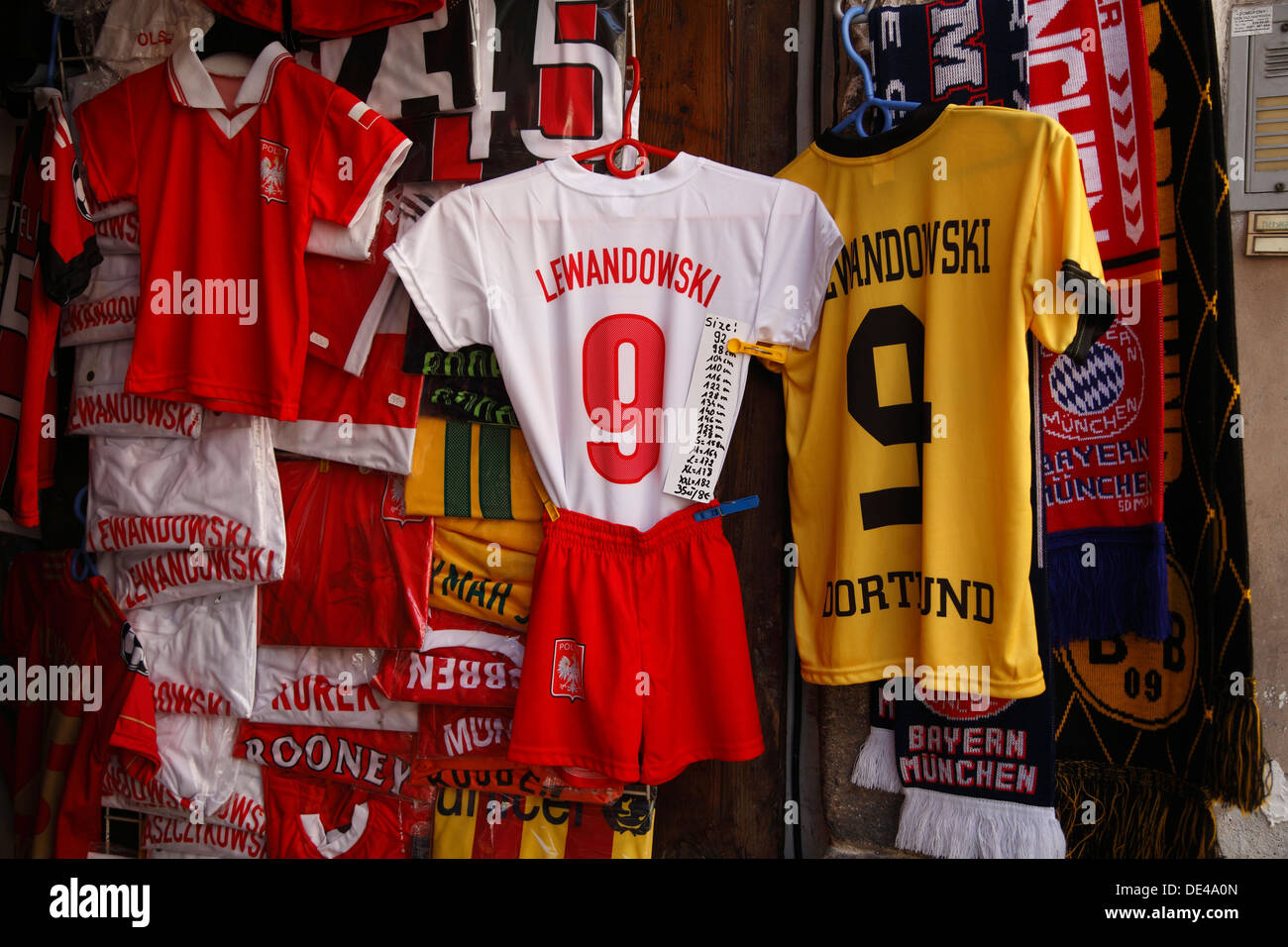 Souvenirshop with Lewandowski Football shirts, Krakow, Poland - Stock Image