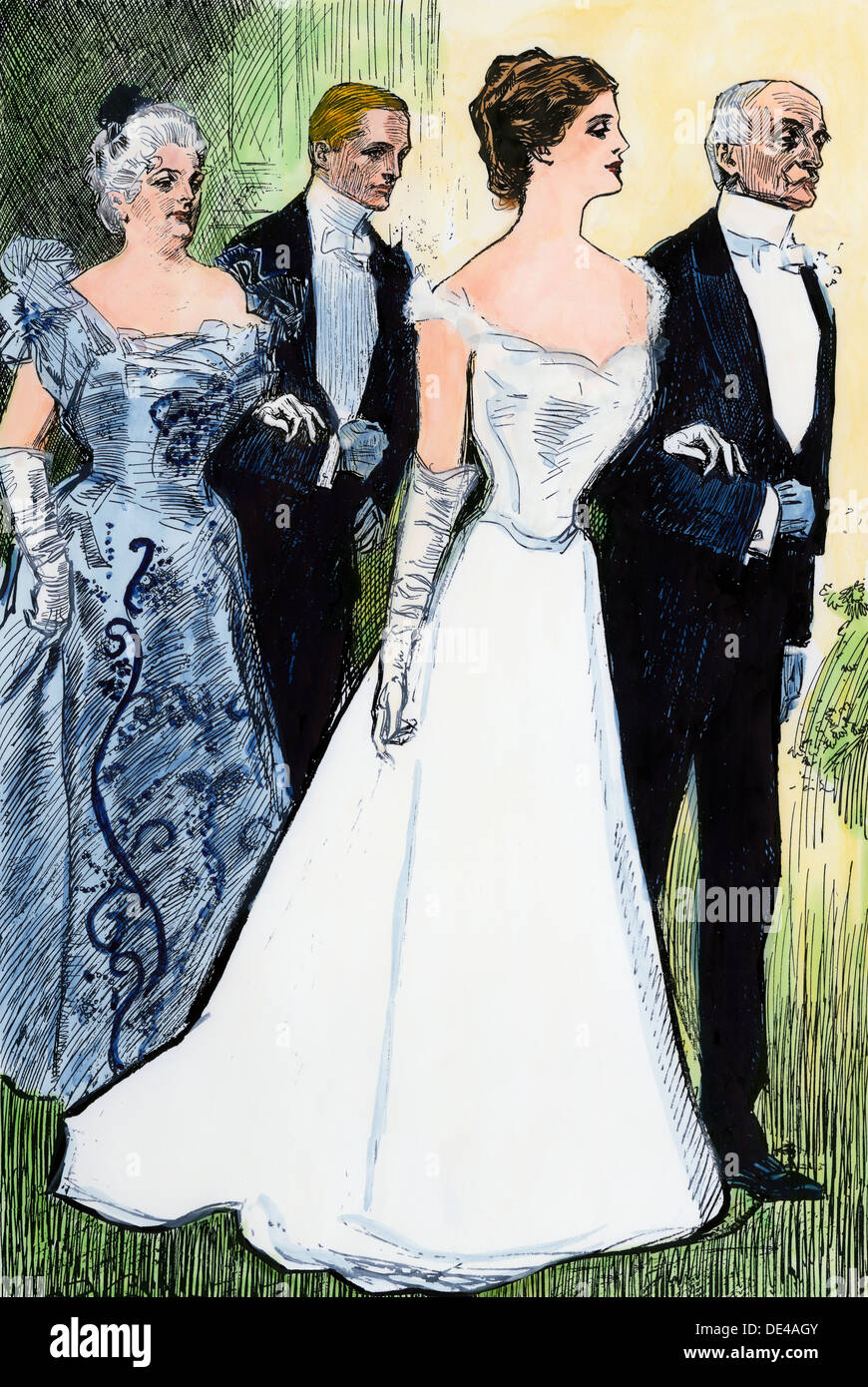 Debutante escorted by her father at her debut, circa 1900. Hand-colored woodcut of a Charles Dana Gibson illustration - Stock Image