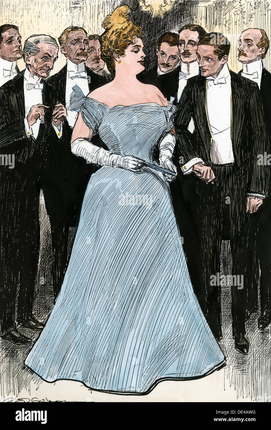 Society woman in her 'Indian Summer,' escorted into a room circa 1900. Hand-colored woodcut of a Charles Dana Gibson illustration - Stock Image