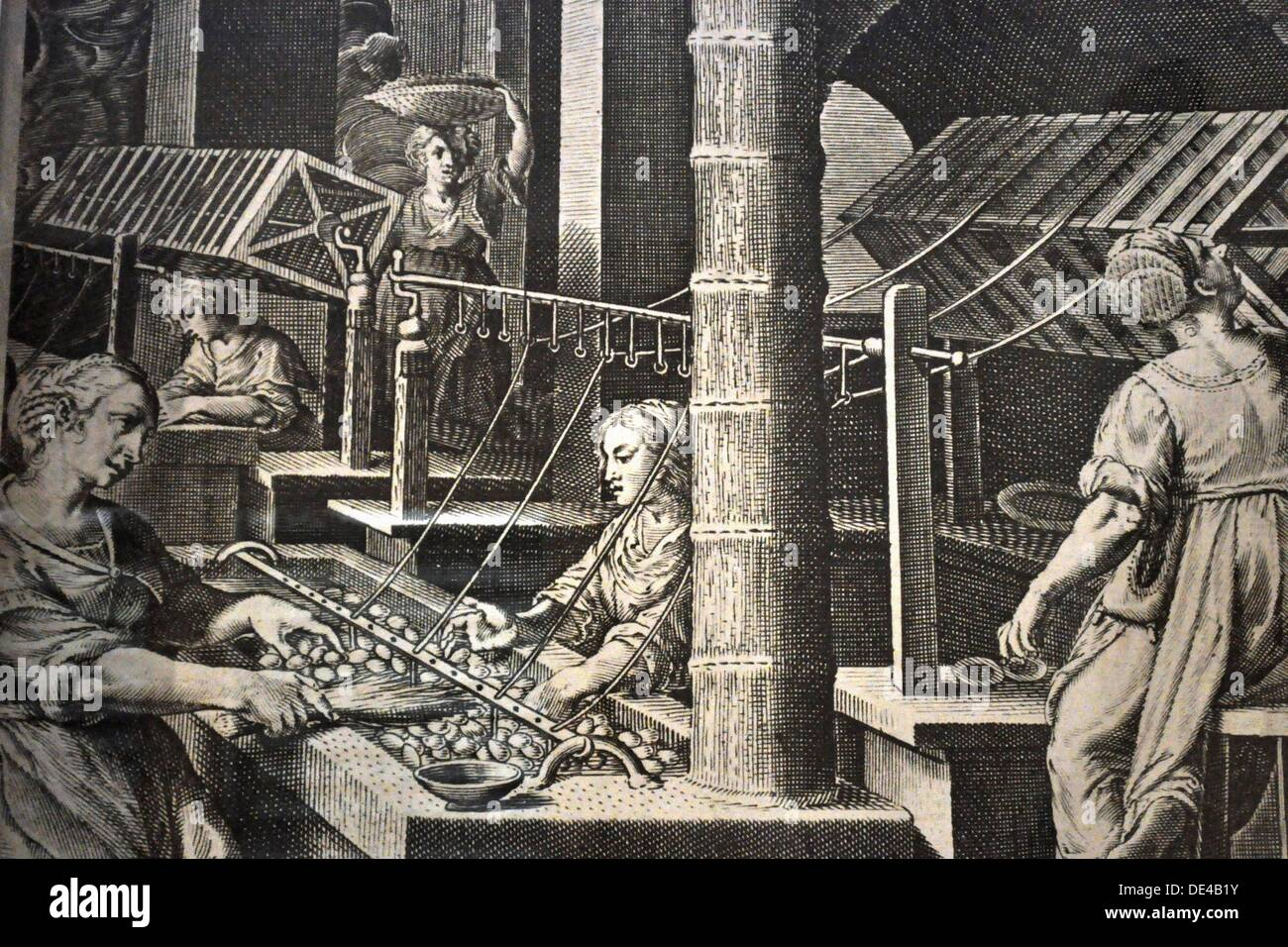 Bologna (Italy): old print on the city's ancient silk industry at the Museo della Tappezzeria (Tapestry Museum, Villa Spada) - Stock Image