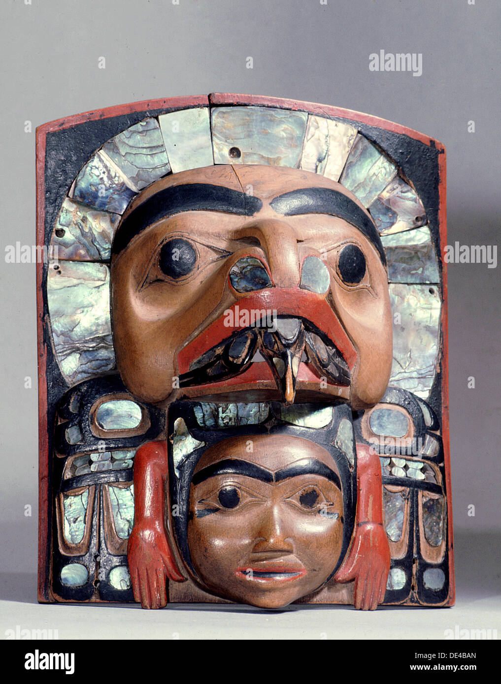 Chief's frontlet with a design associated with the myth of the whale and the raven. - Stock Image