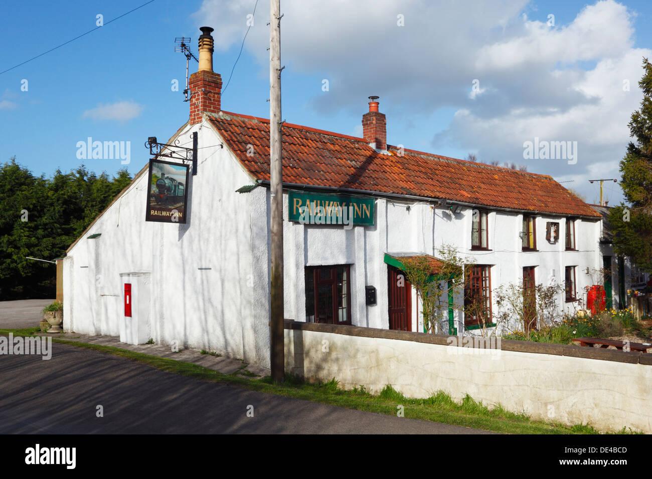 The Railway Inn at Ashcott Corner. Somerset. England. UK. - Stock Image