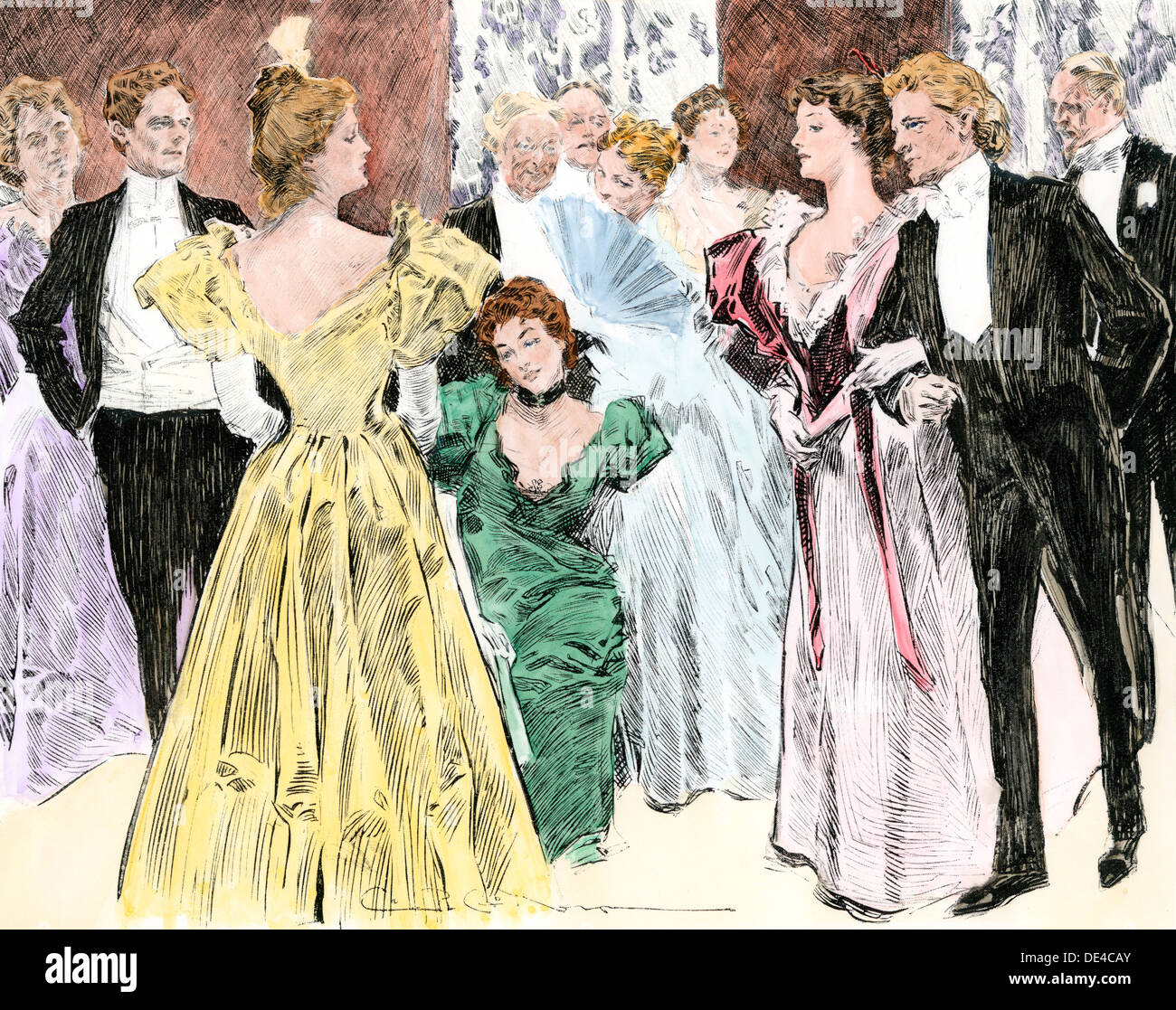 High-society evening reception, 1890s. Hand-colored woodcut of a Charles Dana Gibson illustration - Stock Image
