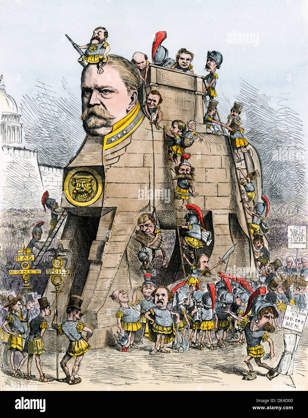 Winfield Scott Hancock cartooned as the Democratic Trojan Horse, election campaign of 1880. Hand-colored woodcut - Stock Image