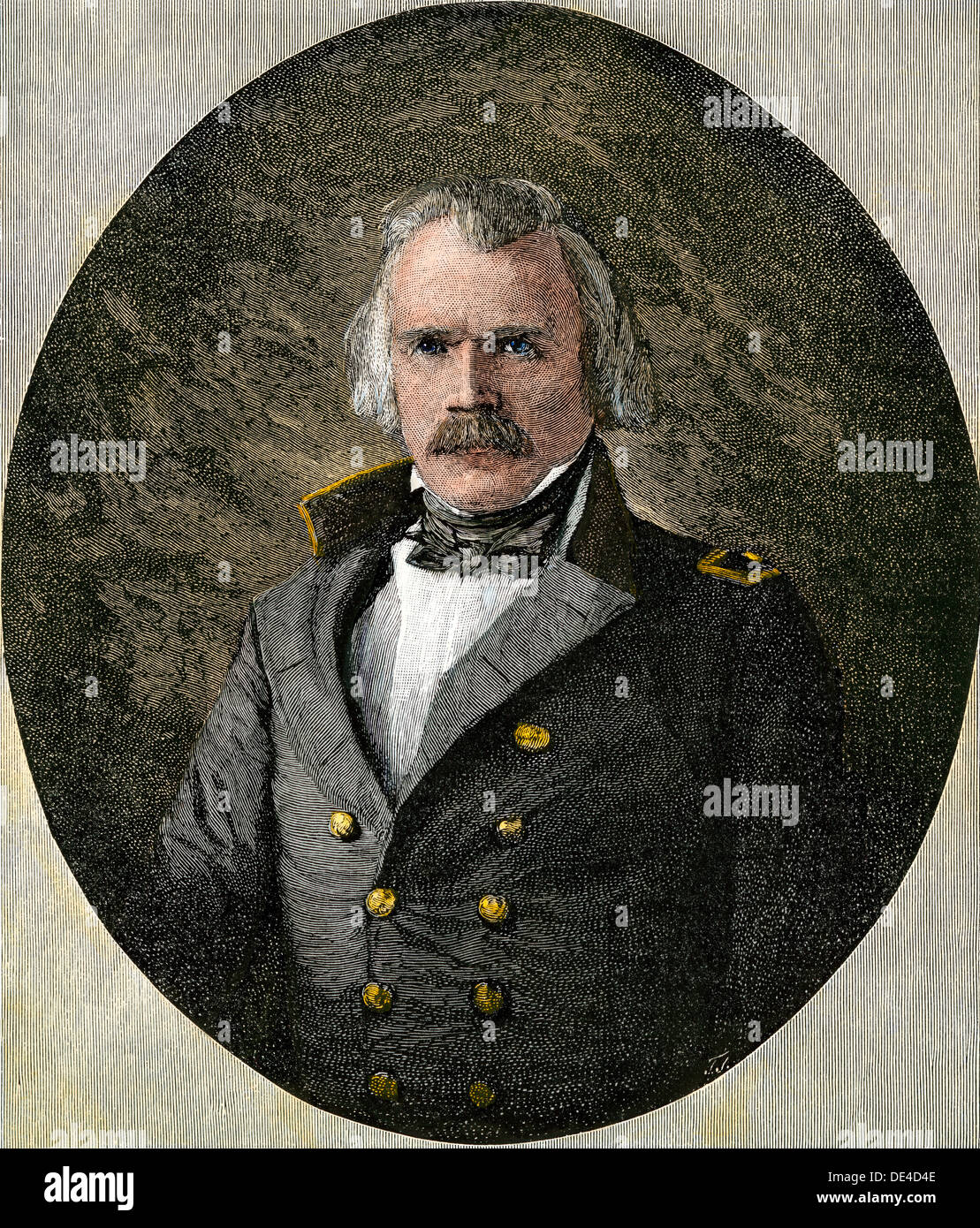 Confederate General Albert Sidney Johnston, at age 57. Hand-colored woodcut - Stock Image