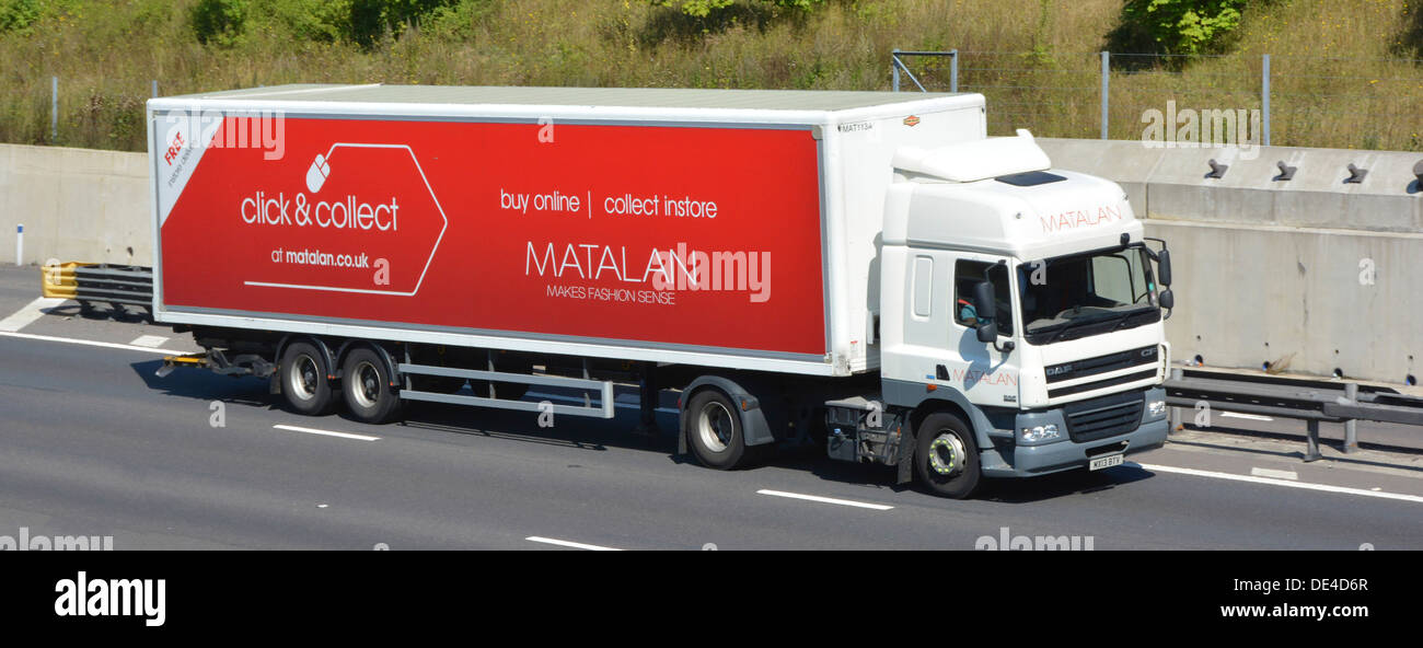 Matalan lorry with trailer advertising online click and collect services - Stock Image