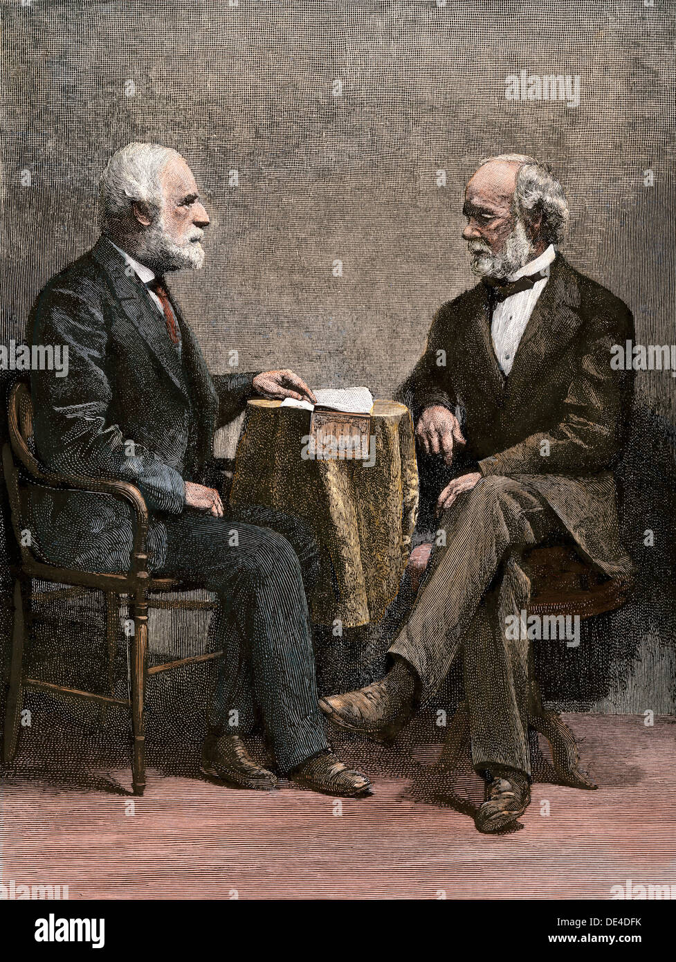Confederate generals Robert E. Lee and Joseph E. Johnston, from a photograph taken after the war. Hand-colored woodcut - Stock Image