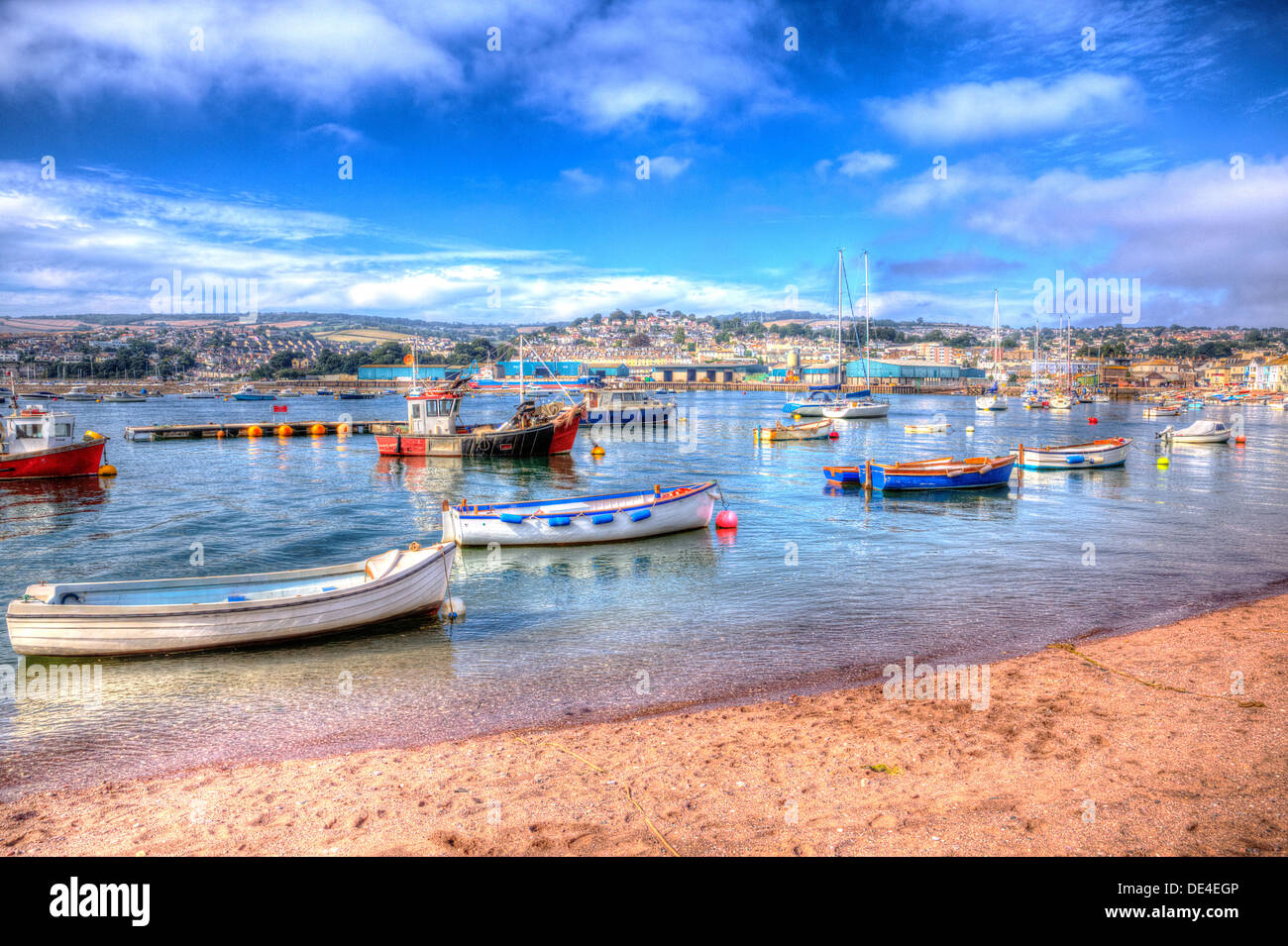 Boats on Teign river Teignmouth Devon with blue sky, English coastal scene in HDR Stock Photo