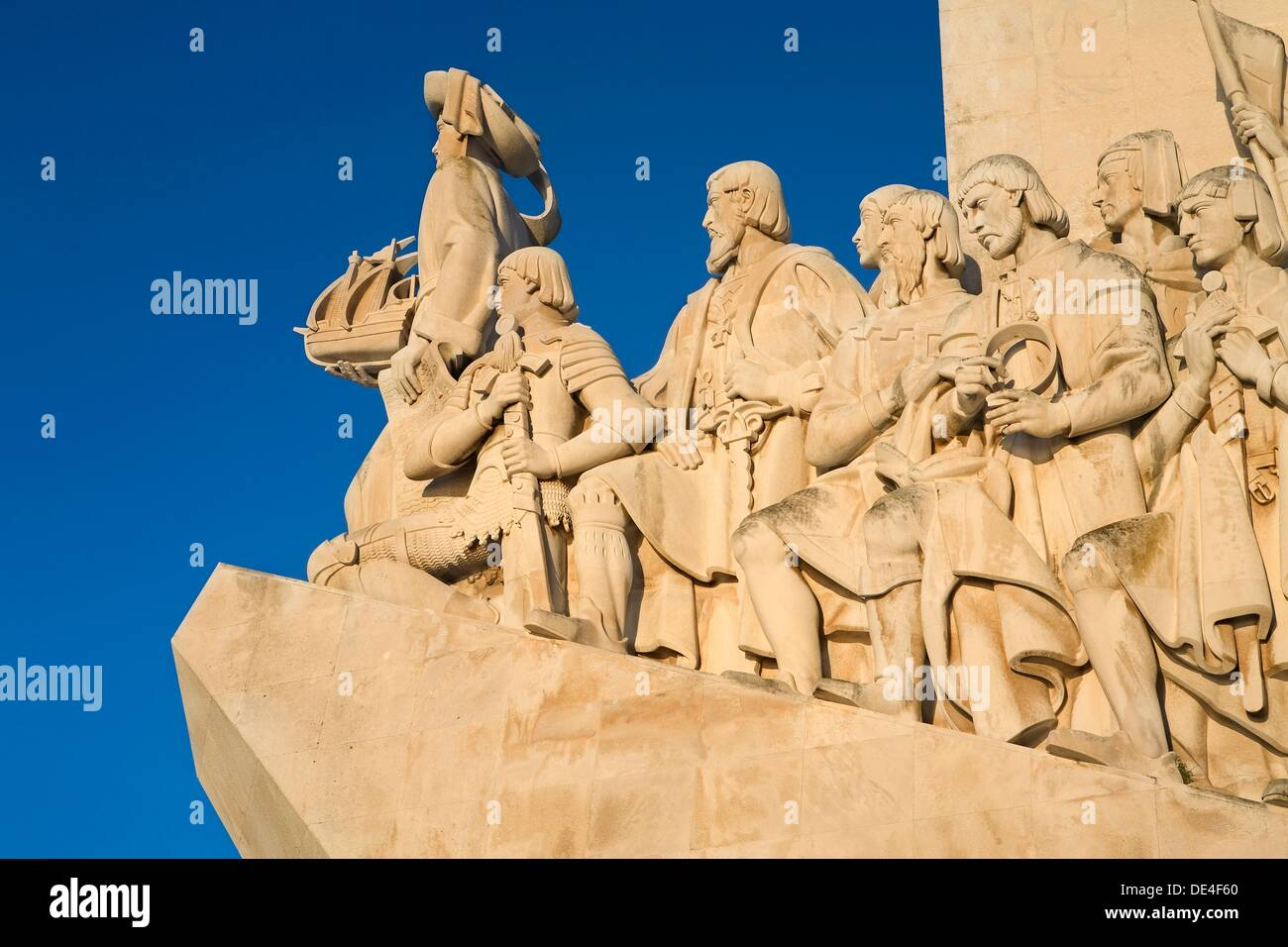 Monument to the Discoverers at dawn, in Belem, Lisbon city, next to the mounth of Tagus river in Atlantic Ocean  Portugal - Stock Image
