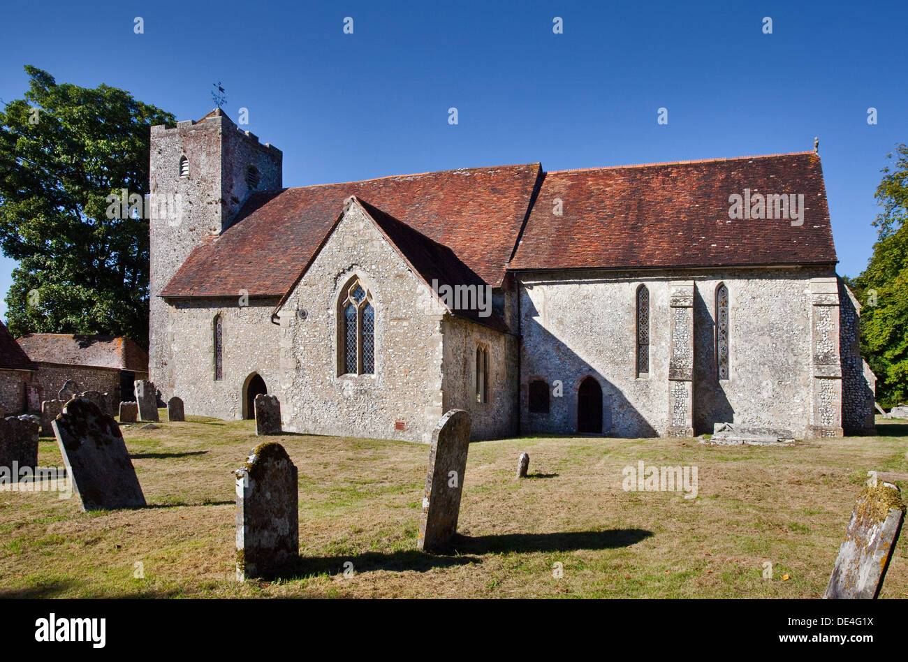 St Michael and All Angels Church, Chalton, Hampshire, England Stock Photo