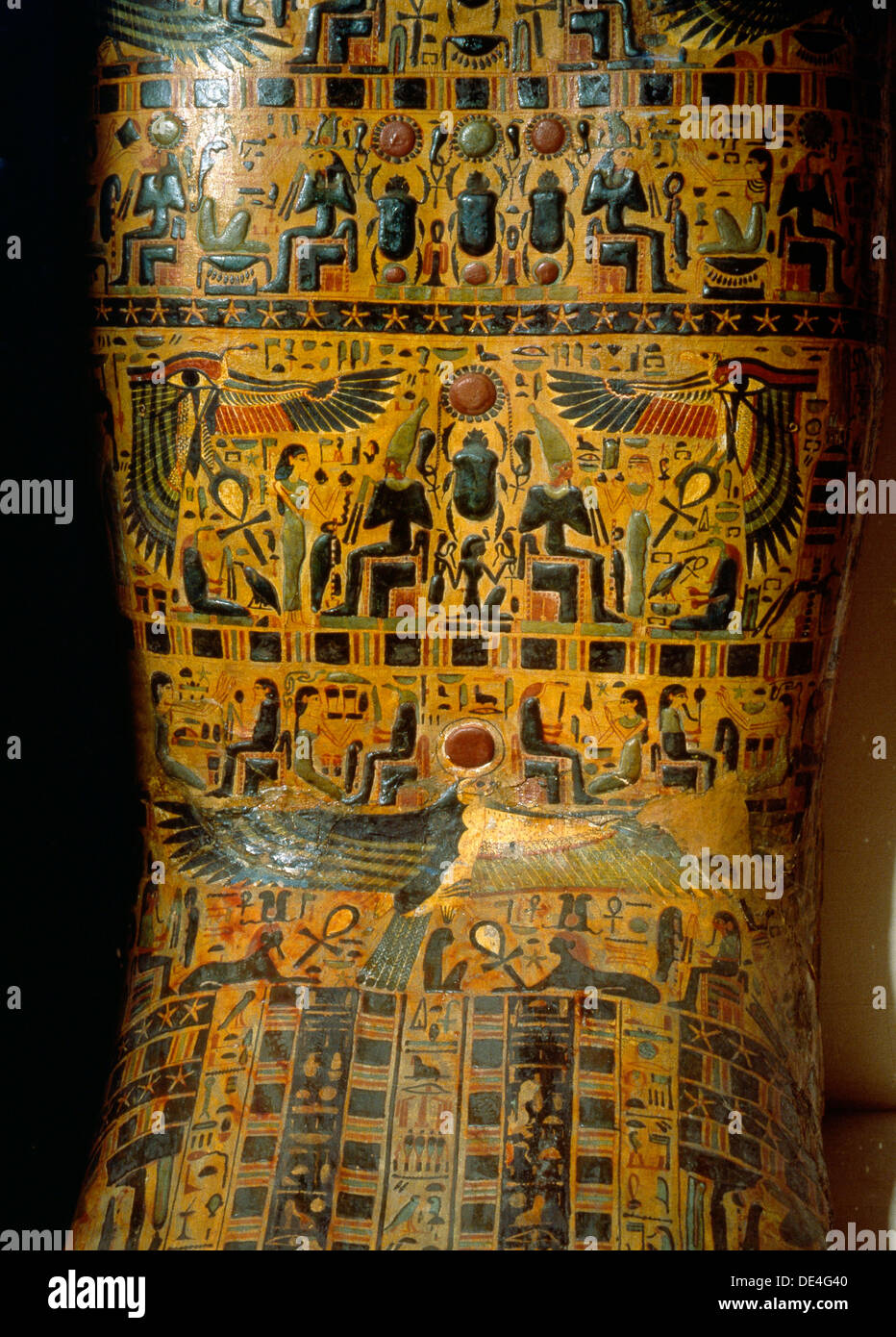 Detail of the exterior of a coffin,decorated with scenes from the Osirian and solar mythology. - Stock Image