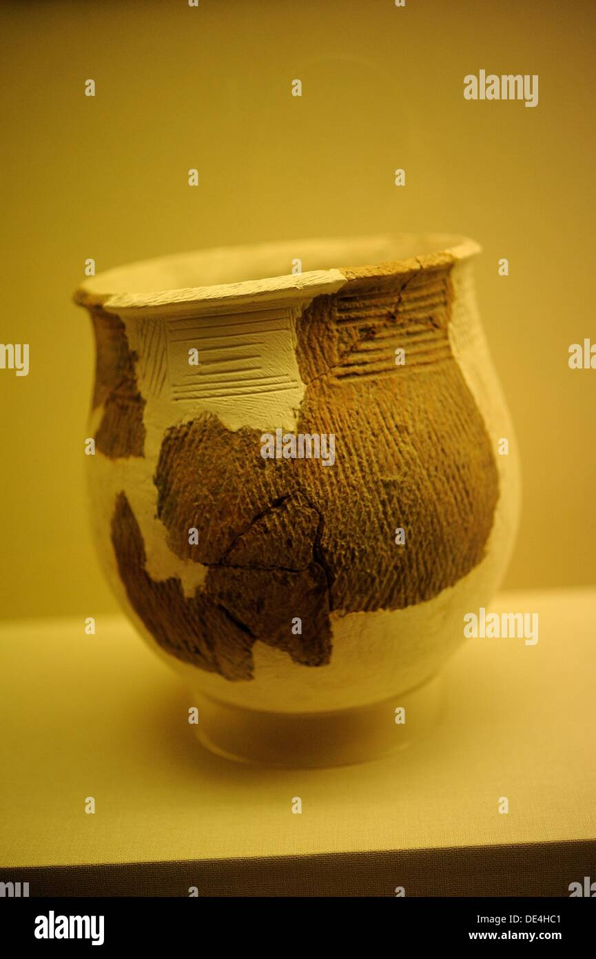Pottery Pot Height 22cm diameter at mouth 19.8cm belly diameter 22cm Unearthed at Pengtoushan site, Daping, Li County in 1988 - Stock Image