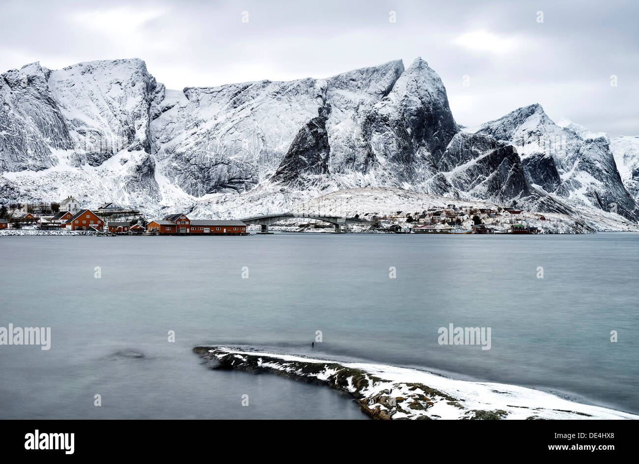A view of Rorbus at Sakrisoy on the Lofoten islands with Navaren in the background Stock Photo