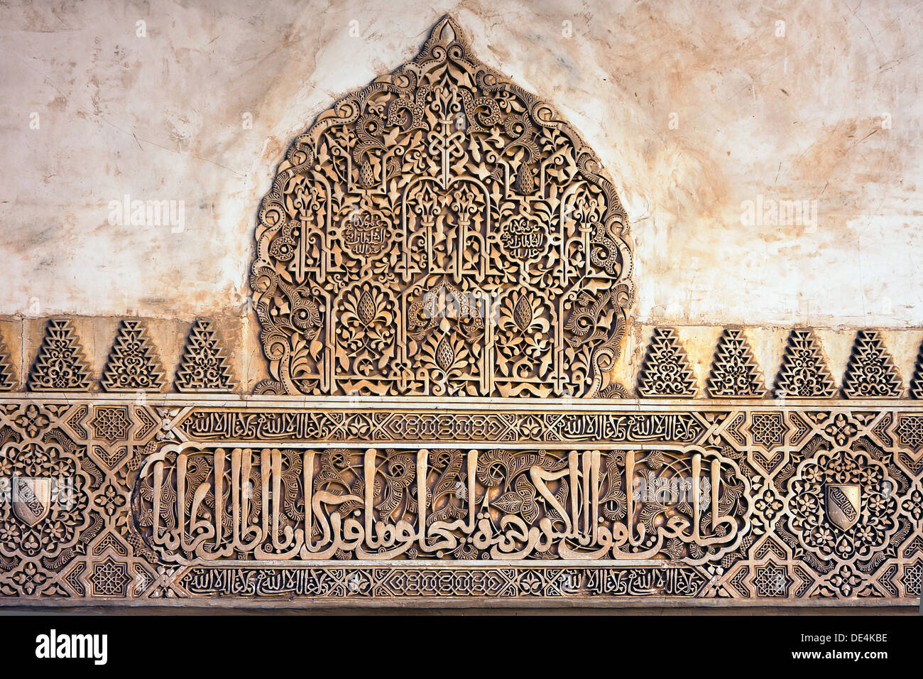 Arabic stucco background, Coat of Arms Stock Photo