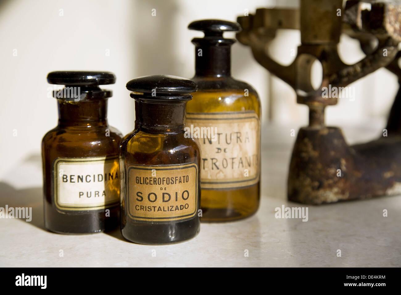 Apothecary bottles Stock Photo