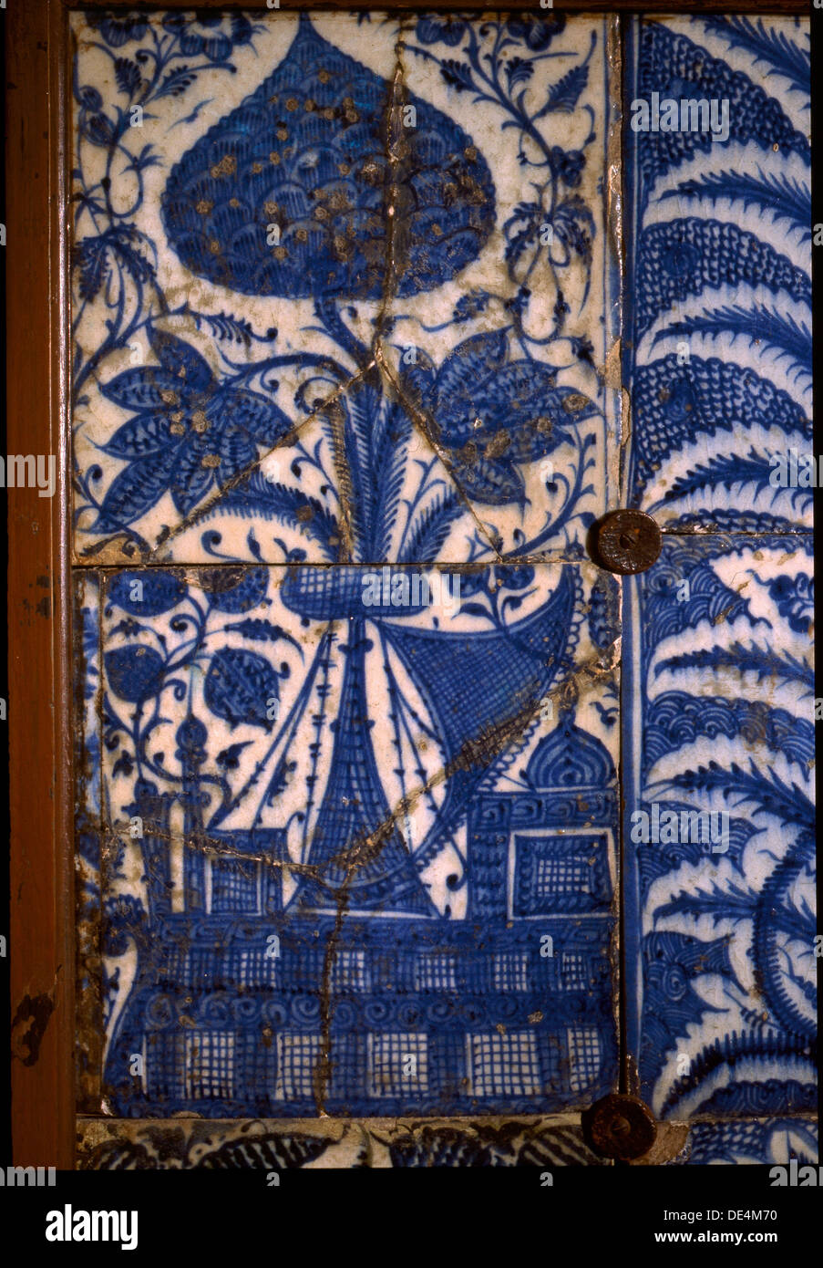 Mismatched Iznik style tiles from a wall panel Stock Photo: 60339972 ...