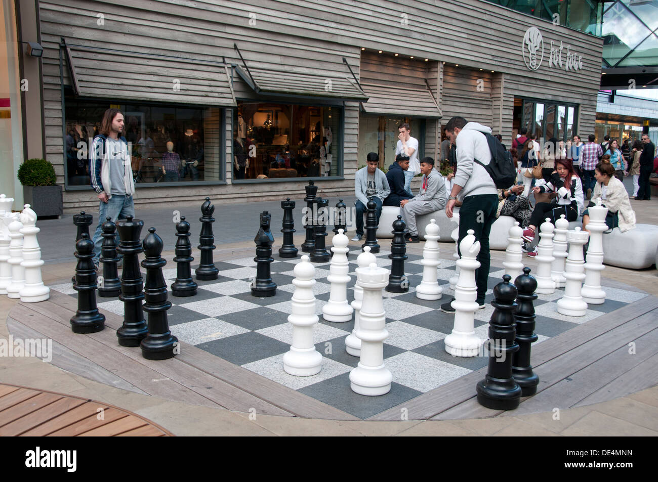 stratford westfield shopping centre playing chess with giant stock photo 60340385 alamy. Black Bedroom Furniture Sets. Home Design Ideas