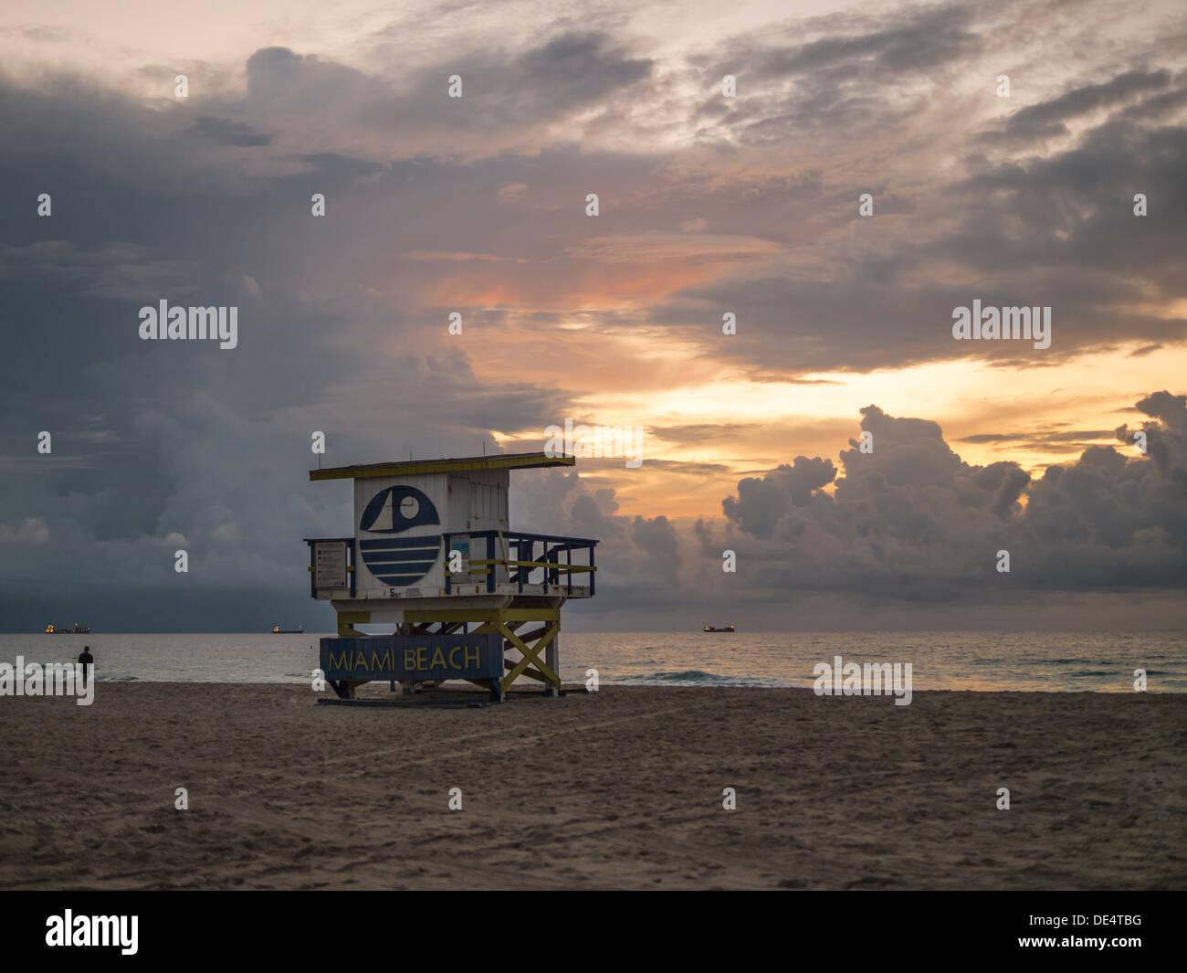 Miami Beach Sunrise.Florida. USA - Stock Image