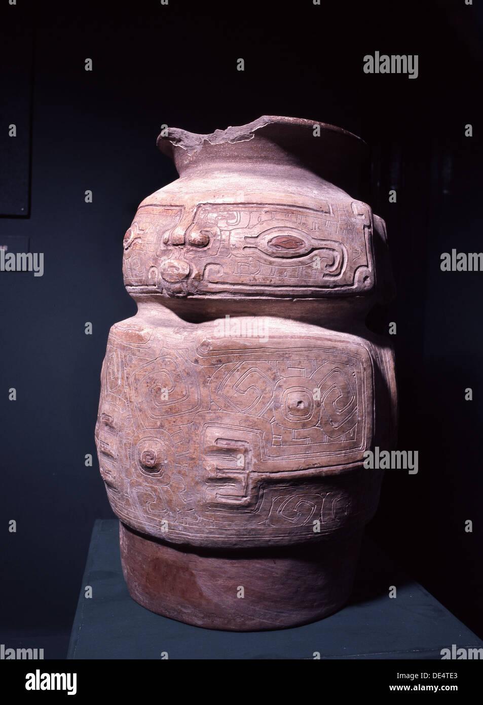 Anthropomorphic funerary urn. - Stock Image