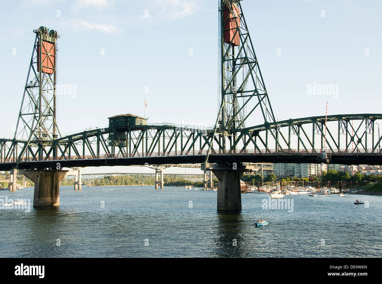 A photograph of the Hawthorne Bridge, the oldest vertical lift bridge in operation in the United States. - Stock Image