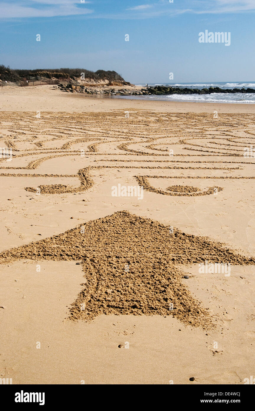 maze on ditch plains beach - Stock Image