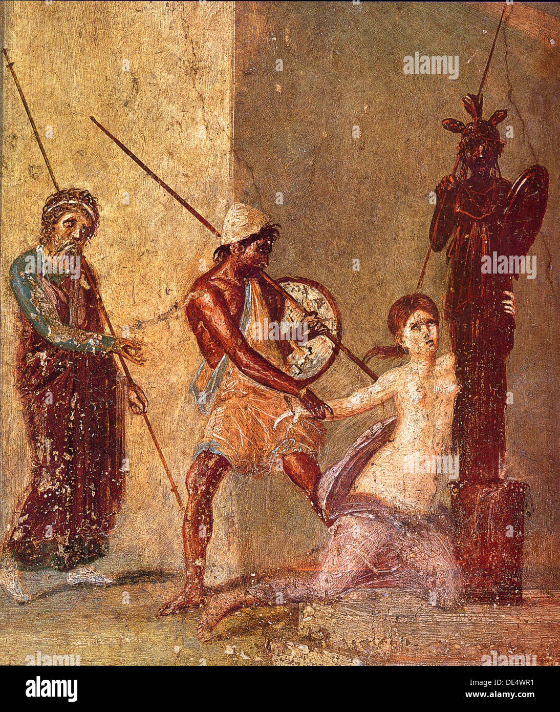 Ajax the Lesser drags Cassandra away from the Xoanon, 1st H. 1st cen. AD. Artist: Roman-Pompeian wall painting - Stock Image