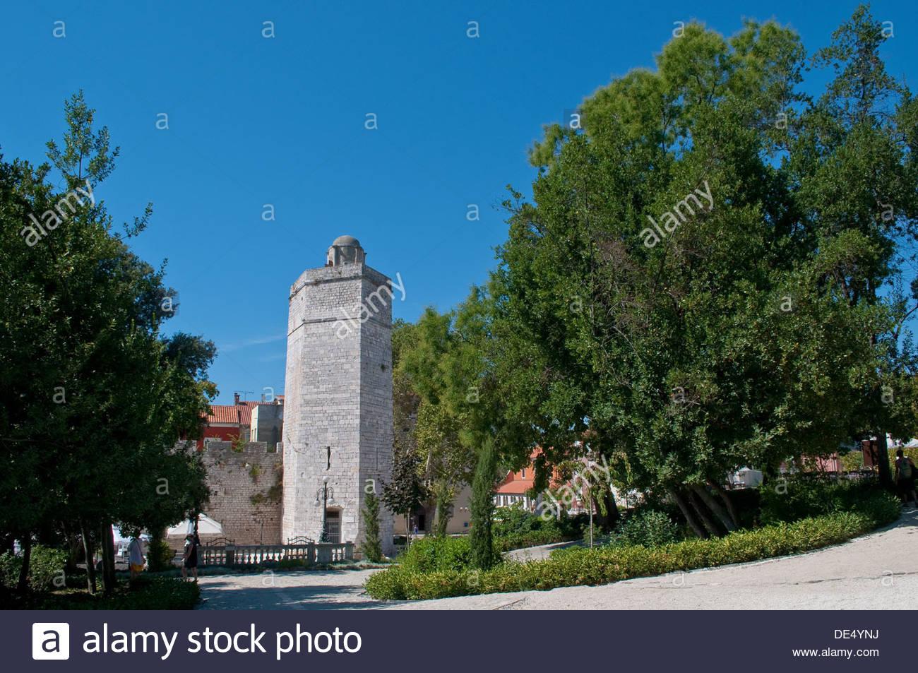 Captain's Tower and park of Queen Jelana, Zadar, Croatia - Stock Image